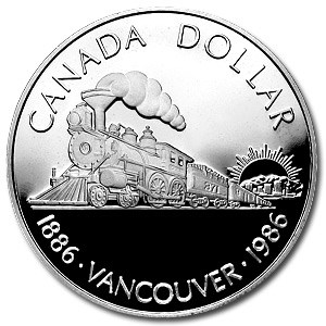 1986 Canada Silver Dollar Proof (100th Ann Transcontinental Rail)
