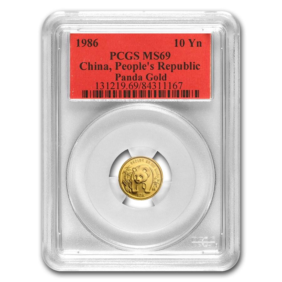 1986 China 1/10 oz Gold Panda MS-69 PCGS