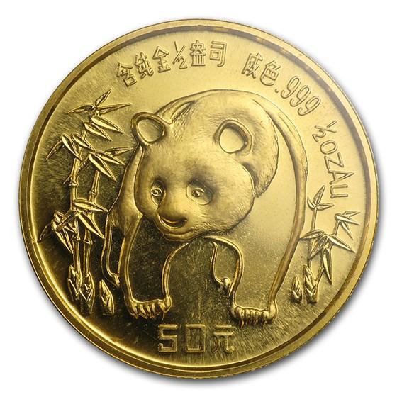 1986 China 1/2 oz Gold Panda BU (Sealed)