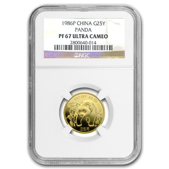 1986 China 1/4 oz Proof Gold Panda PF-67 NGC