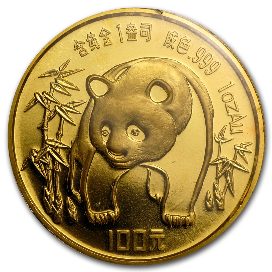 1986 China 1 oz Gold Panda BU (Sealed)