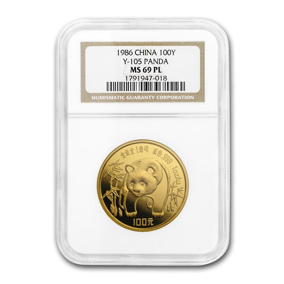 1986 China 1 oz Gold Panda MS-69 PL NGC