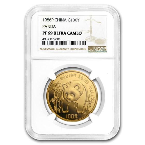 1986 China 1 oz Proof Gold Panda PF-69 NGC