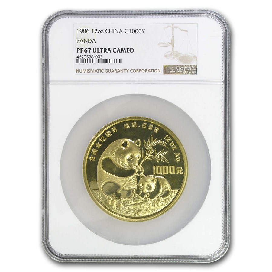 1986 China 12 oz Proof Gold Panda 1000 Yuan PF-68 NGC (Box & COA)