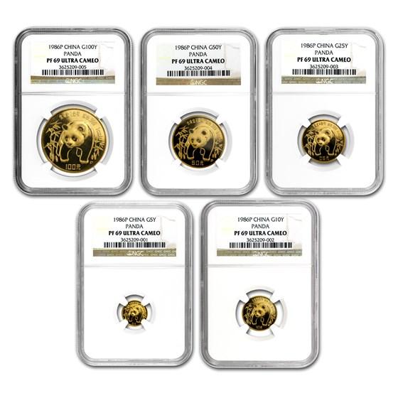 1986 China 5-Coin Gold Panda Proof Set PF-69 NGC
