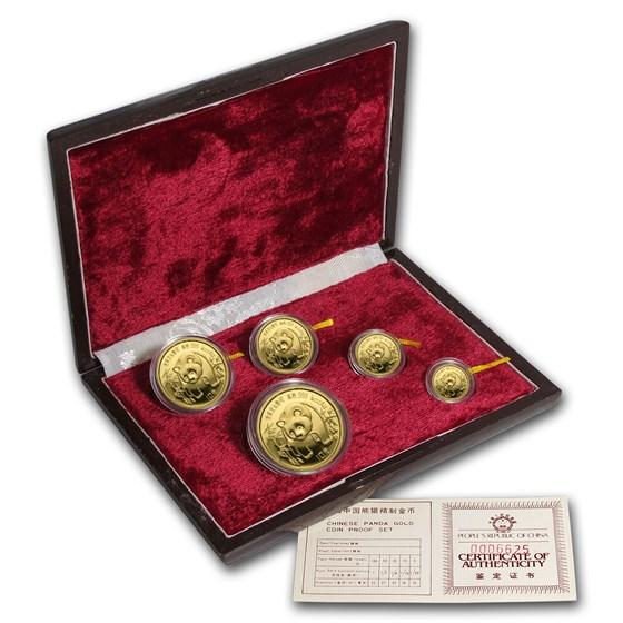 1986 China 5-Coin Gold Panda Proof Set (w/Box and COA)