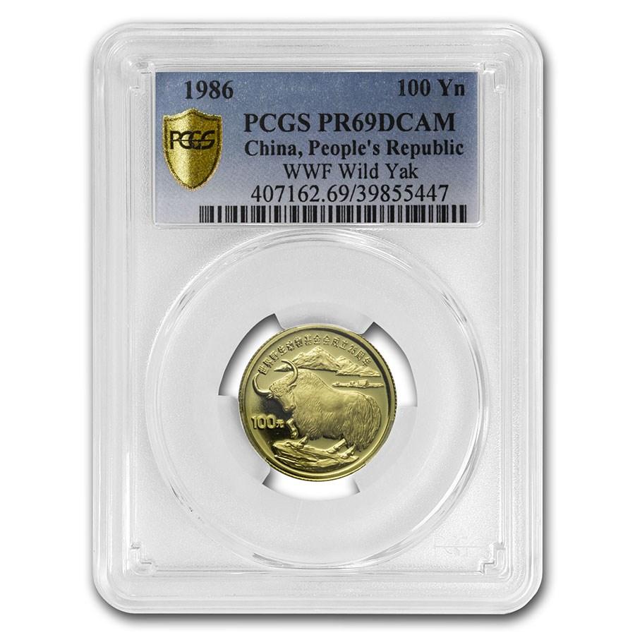 1986 China Gold 100 Yuan Yak PR-69 PCGS (World Wildlife Fund)