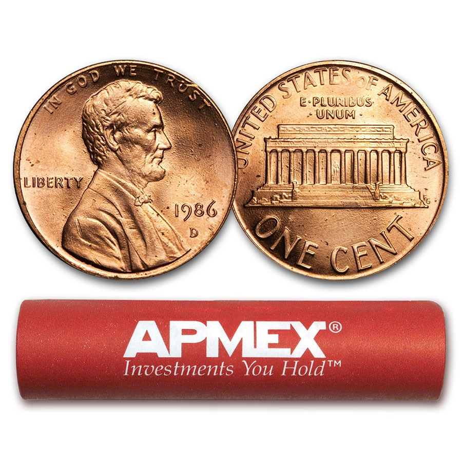 1986-D Lincoln Cent 50-Coin Roll BU