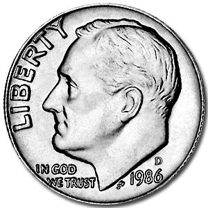 1986-D Roosevelt Dime BU