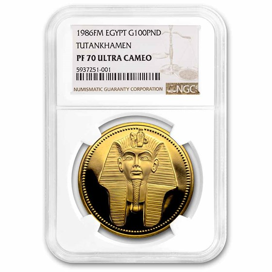 1986 Egypt Proof Gold 100 Pound Tutankhamen PR-70 UCAM NGC