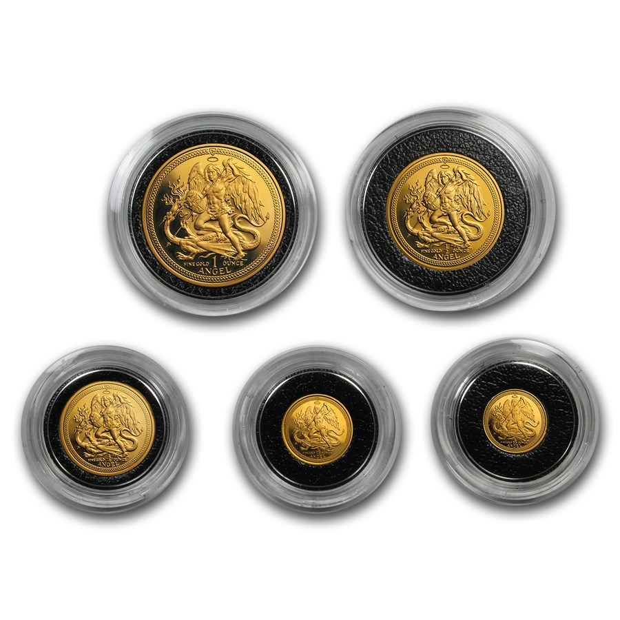 1986 Isle of Man Angel 5-Coin Gold Proof Set (No CoA - Caps Only)