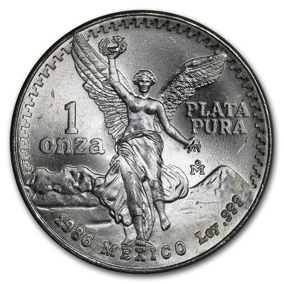 1986 Mexico 1 oz Silver Libertad (Abrasions)