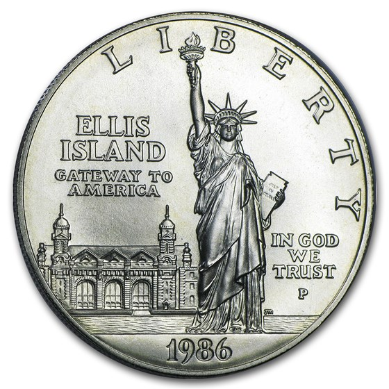 1986-P Statue of Liberty $1 Silver Commem BU (Capsule Only)