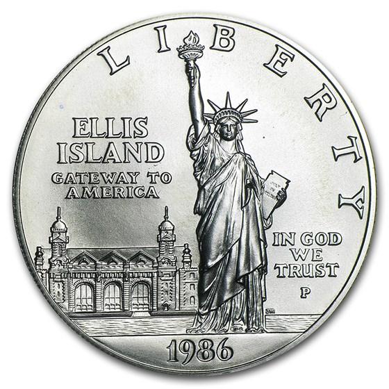 1986-P Statue of Liberty $1 Silver Commem BU (w/Box & COA)