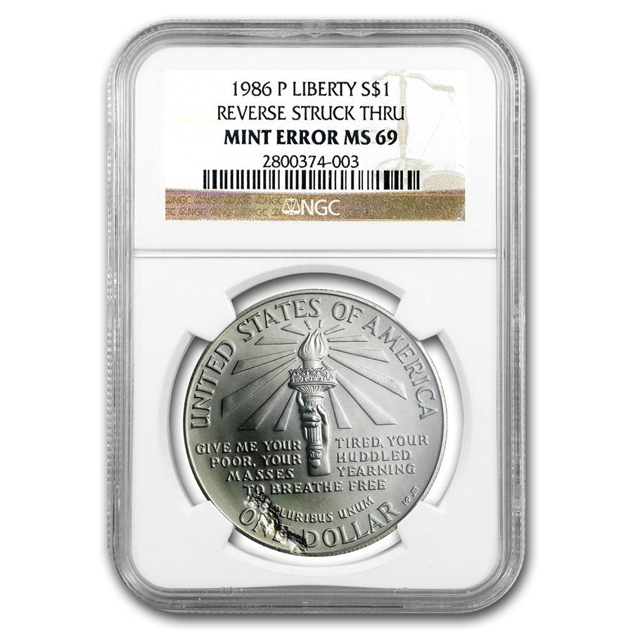 1986-P Statue of Liberty $1 Silver Commem MS-69 NGC (Mint Error)