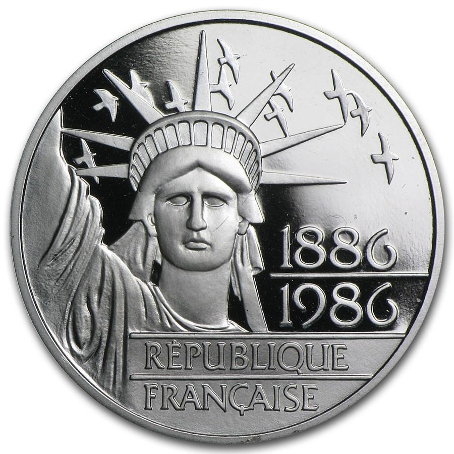1986 Platinum 100 Francs Statue of Liberty Proof (w/Box & COA)