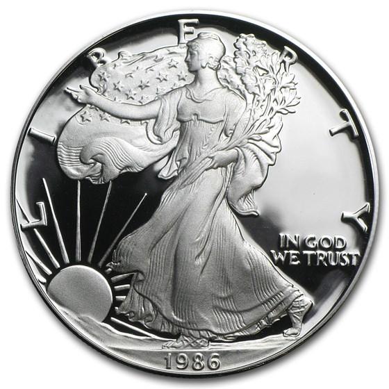 1986-S 1 oz Proof American Silver Eagle (w/Box & COA)