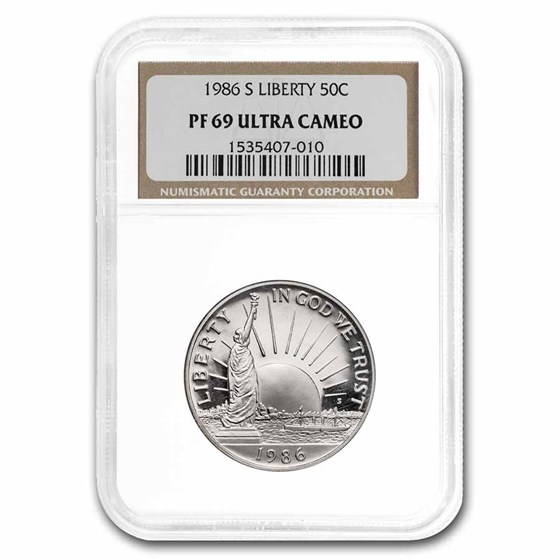 1986-S Statue of Liberty 1/2 Dollar Clad Commem PF-69 NGC