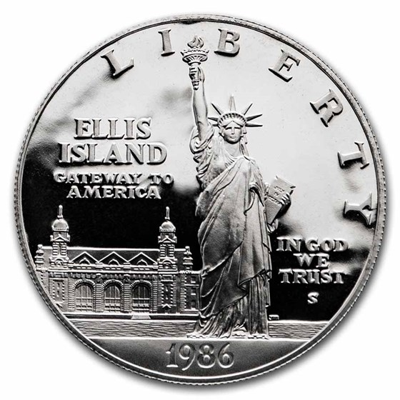 1986-S Statue of Liberty $1 Silver Commem Proof (w/Box & COA)