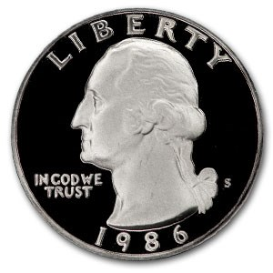 1986-S Washington Quarter Gem Proof