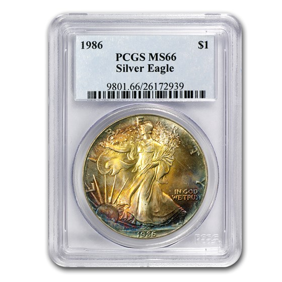 1986 Silver American Eagle MS-66 PCGS (Obv and Rev Toning)