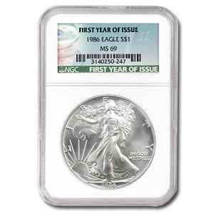 1986 Silver American Eagle MS-69 NGC (First Year of Issue Label)