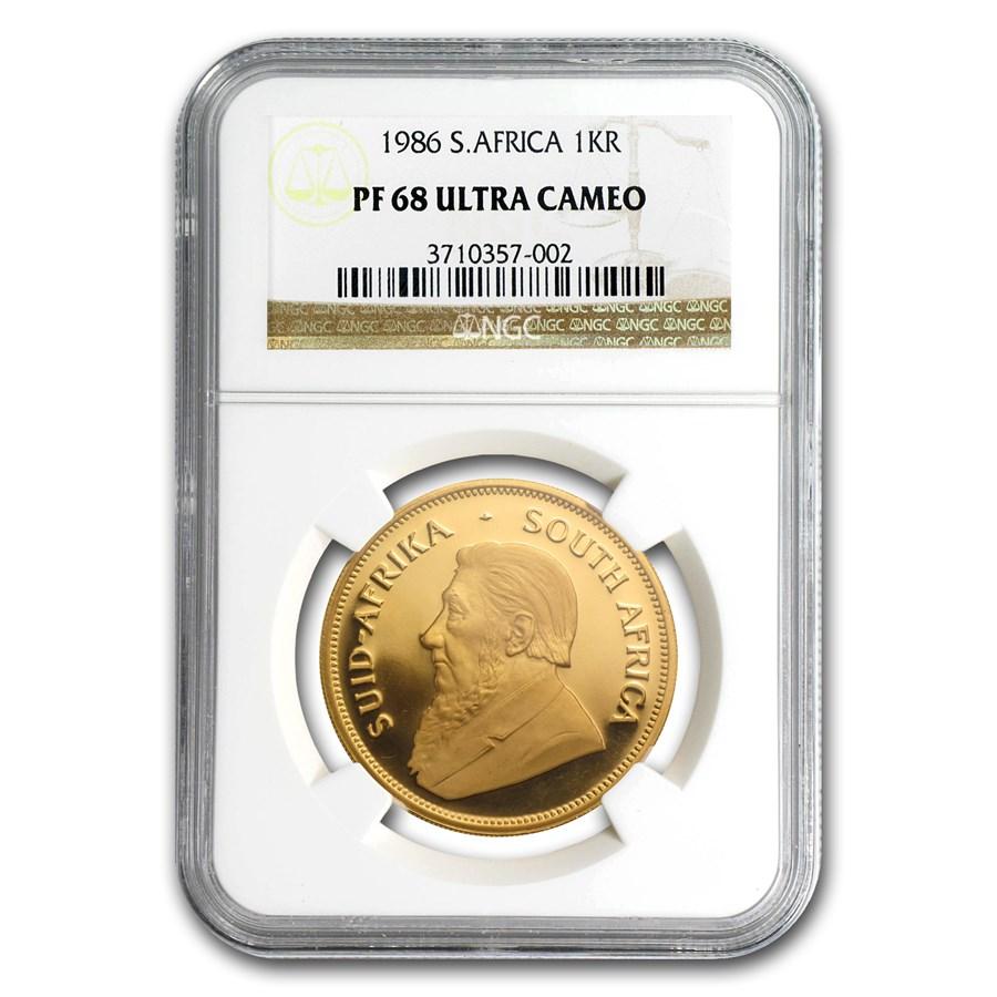 1986 South Africa 1 oz Gold Krugerrand PF-68 NGC