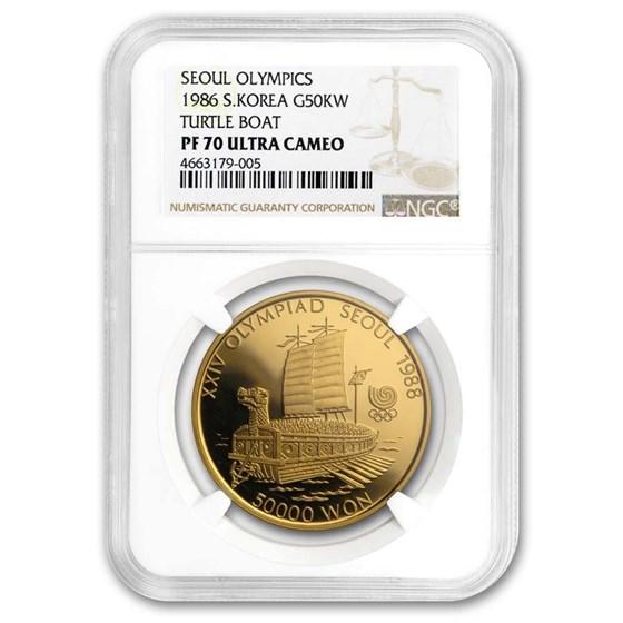 1986 South Korea 1 oz Gold 50,000 Won Olympics PF-70 NGC