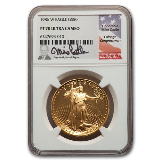 1986-W 1 oz Proof American Gold Eagle PF-70 NGC (Castle Label)
