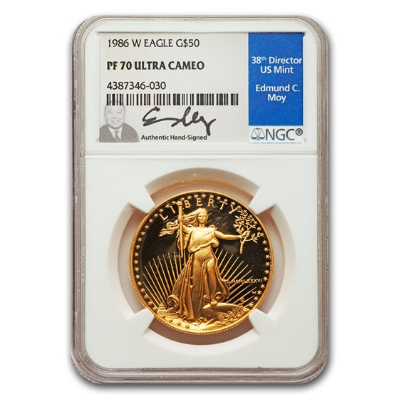 1986-W 1 oz Proof Gold American Eagle PF-70 NGC (Moy Label)