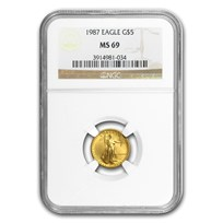 1987 1/10 oz American Gold Eagle MS-69 NGC