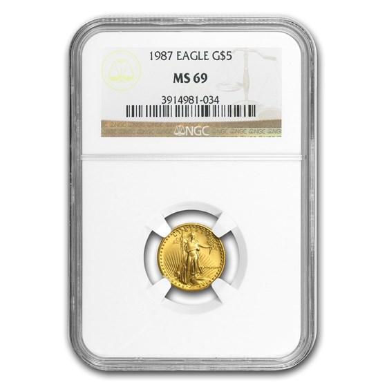 1987 1/10 oz American Gold Eagle MS-69 NGC