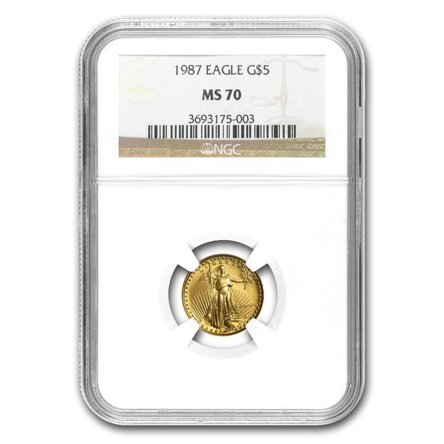 1987 1/10 oz American Gold Eagle MS-70 NGC