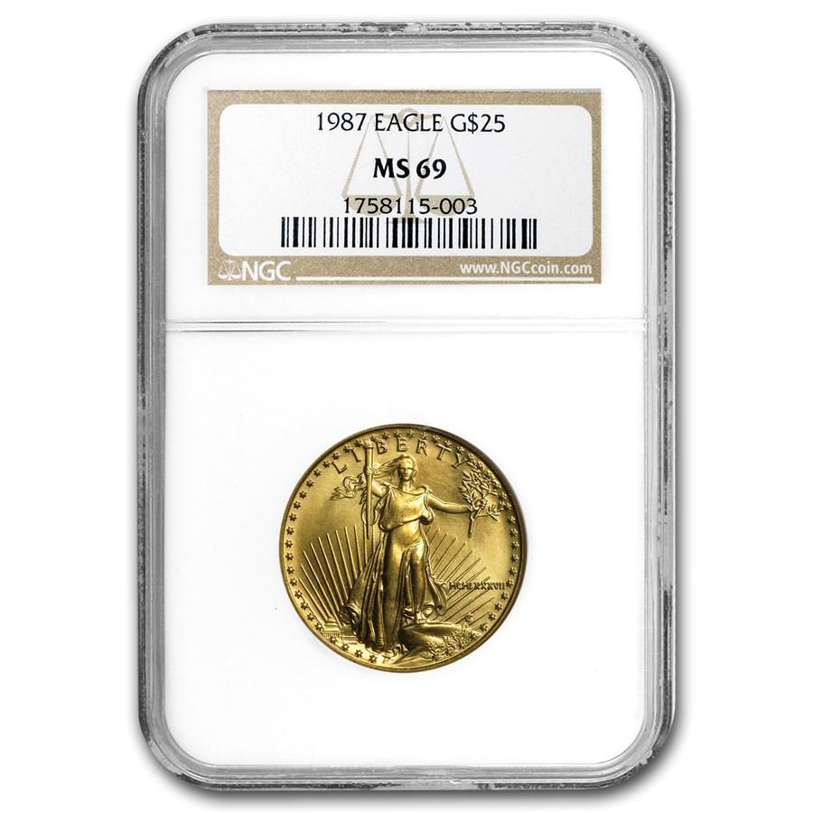 1987 1/2 oz American Gold Eagle MS-69 NGC