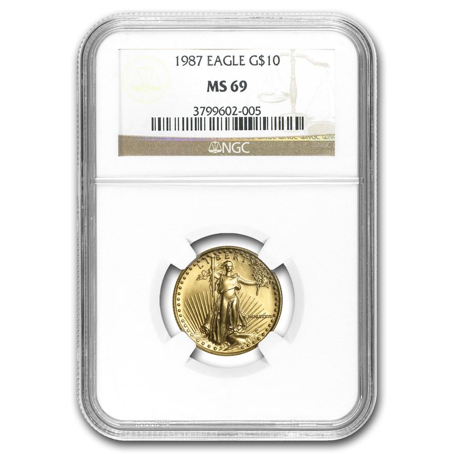 1987 1/4 oz American Gold Eagle MS-69 NGC