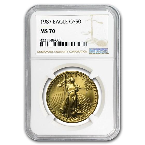 1987 1 oz American Gold Eagle MS-70 NGC