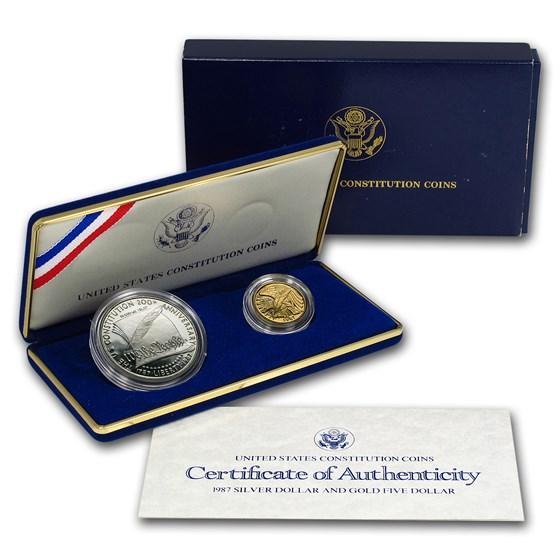 1987 2-Coin Commem Constitution Proof Set (w/Box & COA)