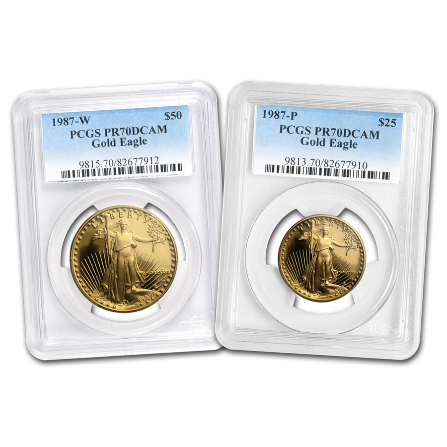 1987 2-Coin Proof American Gold Eagle Set PR-70 PCGS
