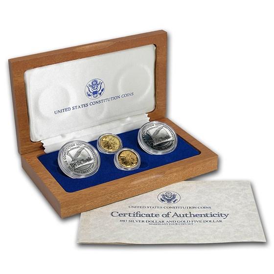 1987 4-Coin Commem Constitution Set BU & Proof (w/Box & COA)