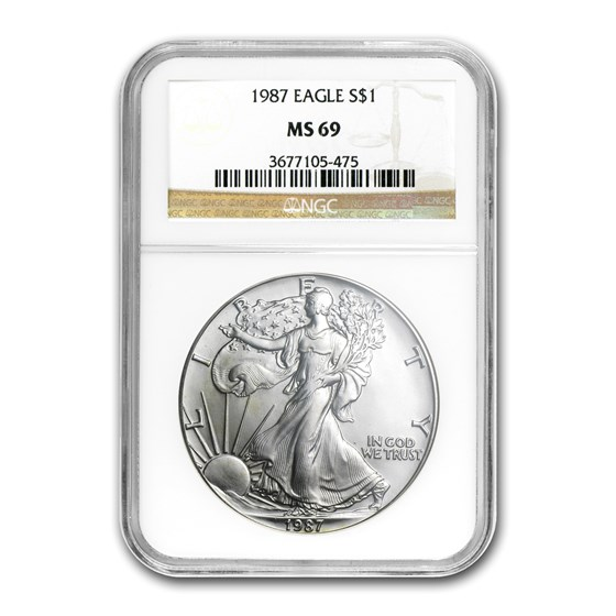 1987 American Silver Eagle MS-69 NGC
