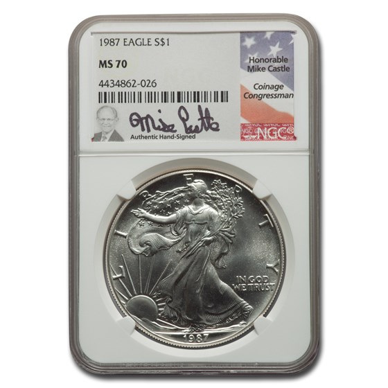 1987 American Silver Eagle MS-70 NGC (Castle)
