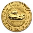 1987 Australia 1/2 oz Gold Nugget BU