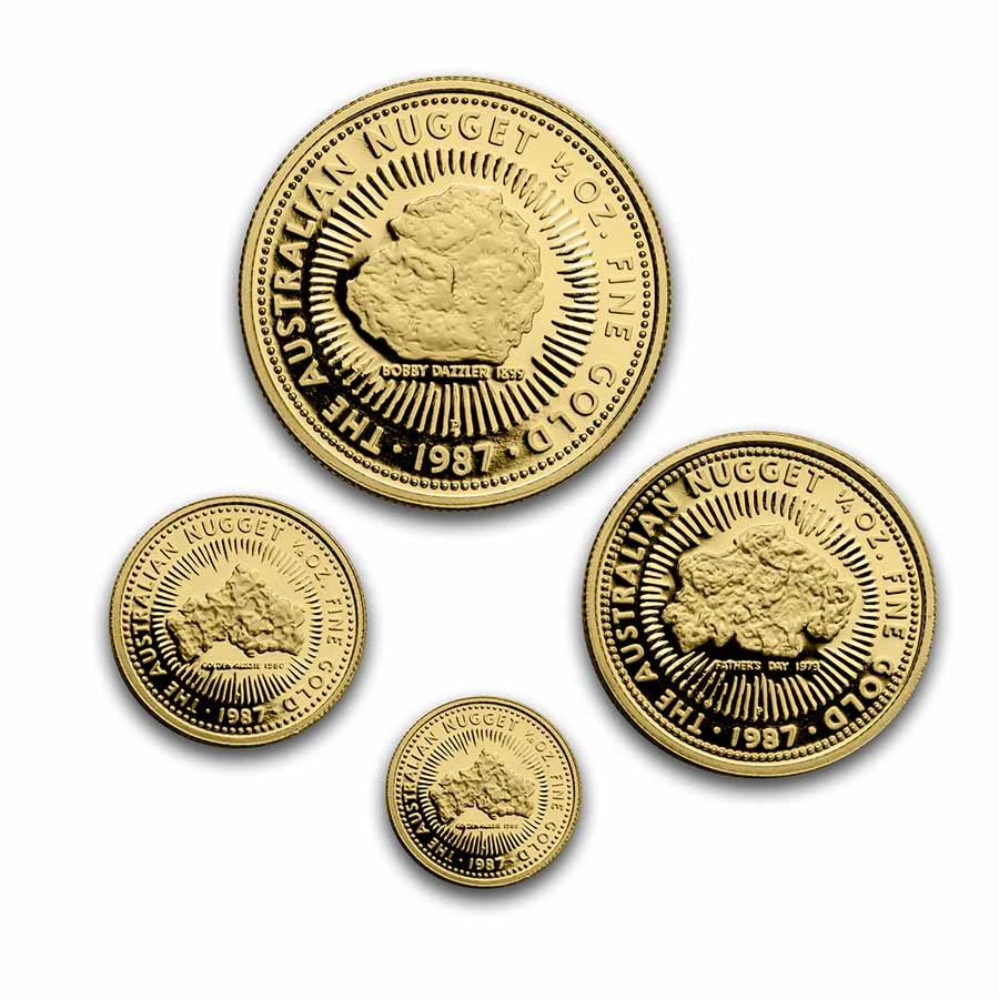 1987 Australia 4-Coin Gold Nugget Proof Set (Capsule Only)
