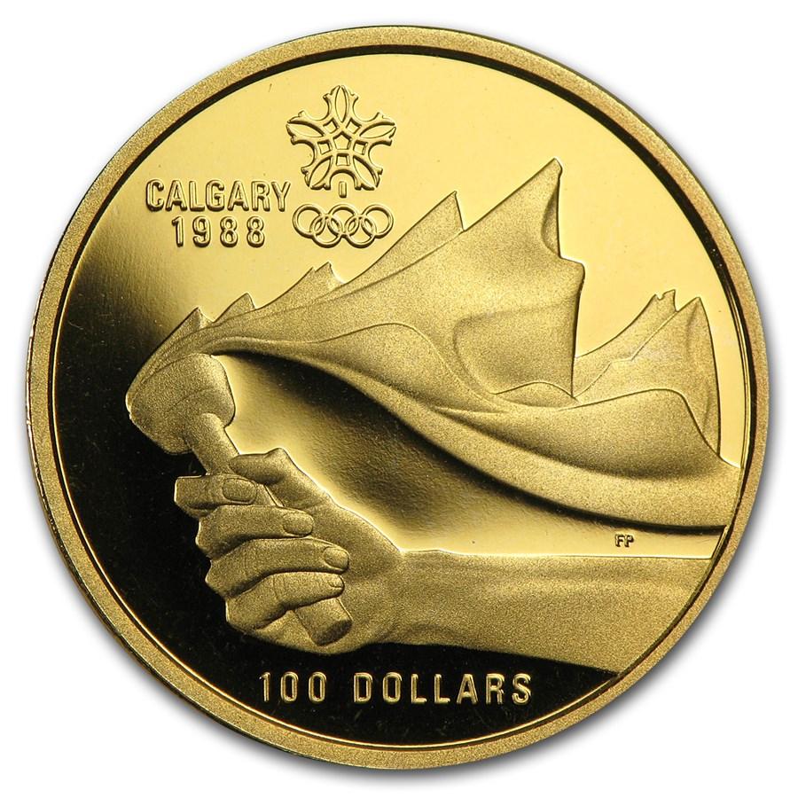 1987 Canada 1/4 oz Proof Gold $100 Calgary Olympics