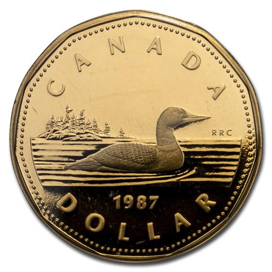 1987 Canada Aureate-Nickel Dollar Loon Proof (Capsule only)