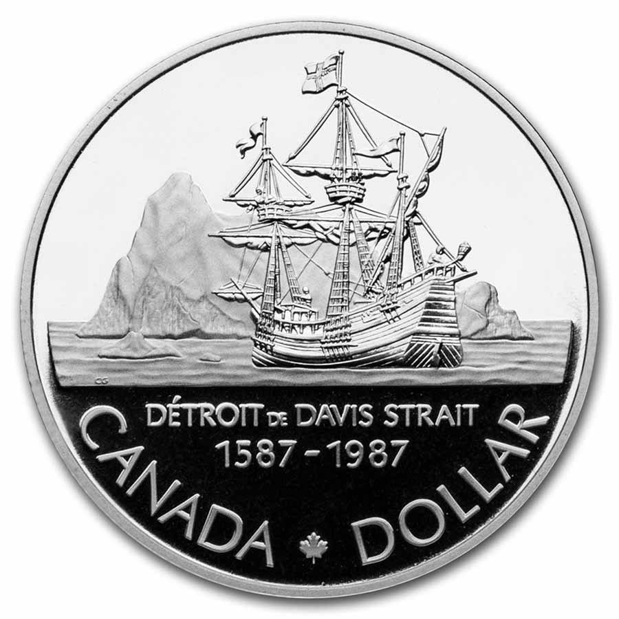 1987 Canada Silver Dollar Proof (400th Ann of Exploration w/OGP)
