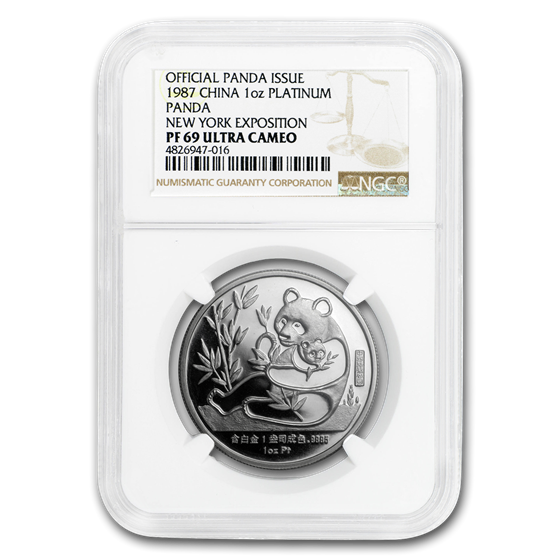 1987 China 1 oz Sino-American Platinum Panda PF-69 NGC (New York)