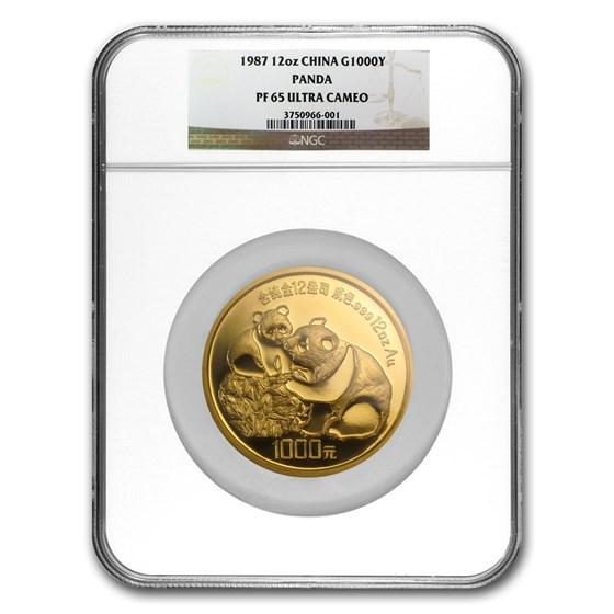 1987 China 12 oz Proof Gold Panda 1000 Yuan PF-65 NGC