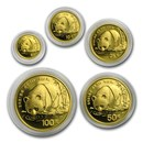 1987 China 5-Coin Proof Gold Panda Set (Capsule Only)
