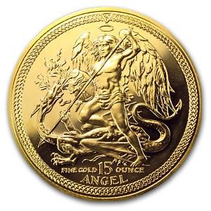 1987 Isle of Man 15 oz Gold Angel BU